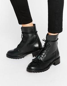 Кожаные ботинки на шнуровке Pieces Diza Kiltie - Черный