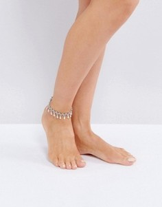 Браслет на ногу с подвеской ASOS - Серебряный