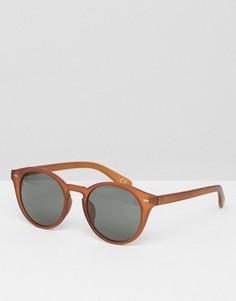 Круглые солнцезащитные очки с красно-бурой отделкой ASOS - Оранжевый