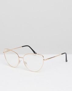 Очки кошачий глаз с прозрачными стеклами ASOS - Золотой