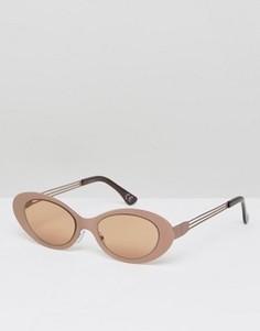 Металлические солнцезащитные очки кошачий глаз ASOS - Коричневый