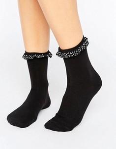 Носки с принтом в горошек на оборке Monki - Черный
