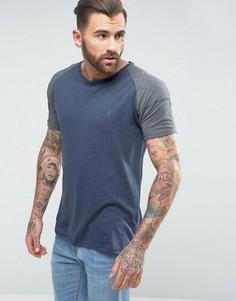 Меланжевая футболка с рукавами реглан Ringspun - Темно-синий