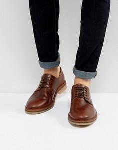Коричневые кожаные дерби с подошвой натурального цвета ASOS - Коричневый