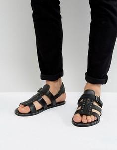 Черные кожаные сандалии с заклепками ASOS - Черный