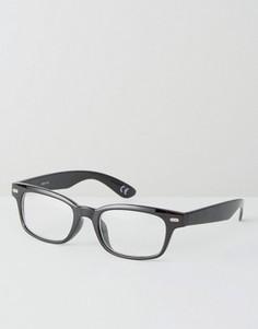 Квадратные очки в черной узкой оправе с прозрачными стеклами ASOS - Черный