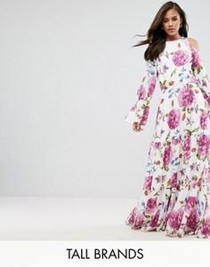 Платье макси с открытыми плечами и цветочным принтом Y.A.S Tall - Мульти