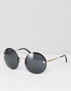 Большие круглые солнцезащитные очки Versace - Черный