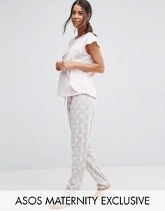 Пижама в сердечко с топом для кормления и штанами ASOS Maternity - Розовый