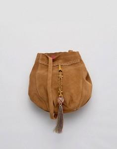 Замшевая сумка через плечо с кисточками Park Lane - Черный