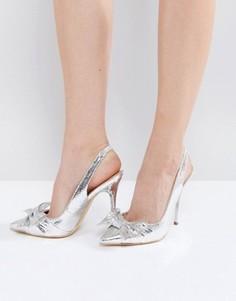 Туфли-лодочки на каблуке с бантом Office Harty - Серебряный