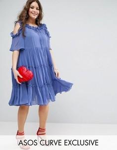 Свободное ярусное платье из тюля с оборками ASOS CURVE Premium - Синий