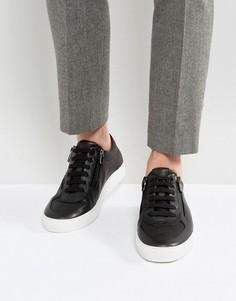 Черные кожаные кроссовки со шнуровкой и молнией HUGO by Hugo Boss - Черный
