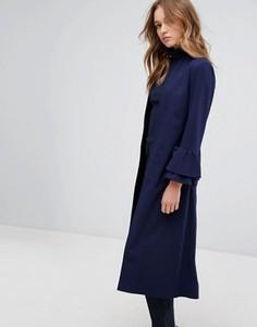 Удлиненная куртка с оборками на рукавах Helene Berman - Темно-синий