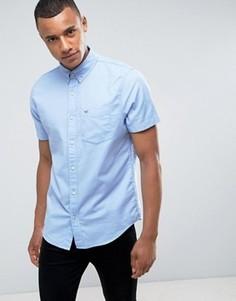 Синяя эластичная приталенная оксфордская рубашка с короткими рукавами Hollister - Синий
