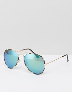 Солнцезащитные очки-авиаторы с зелеными зеркальными стеклами ASOS - Зеленый
