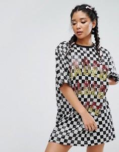 Платье-футболка с шахматным принтом и отделкой пайетками Jaded London - Мульти