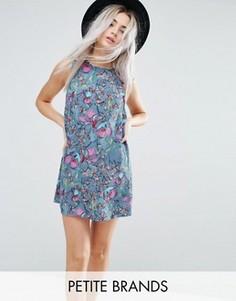 Синее платье без рукавов с цветочным принтом Glamorous Petite - Мульти
