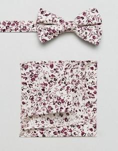 Галстук-бабочка и платок для пиджака с цветочным принтом ASOS - Белый
