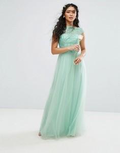 Премиум-платье макси с кружевом и юбкой из тюля Chi Chi London - Зеленый