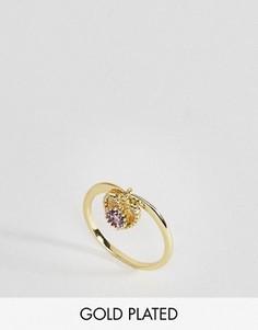 Кольцо с полудрагоценным камнем аметистом для родившихся в феврале Rock N Rose - Золотой