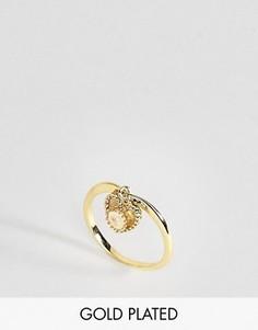 Кольцо с лунным камнем для родившихся в июне Rock N Rose - Золотой