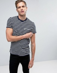 Темно-синяя узкая футболка в полоску с логотипом и карманом Jack Wills Camberwell - Темно-синий