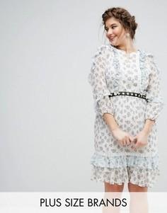 Короткое приталенное платье в цветочек с поясом Truly You - Мульти