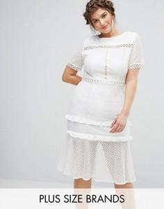 Кружевное платье с люверсами и оборкой по краю Truly You - Белый