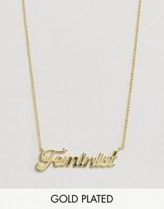 Позолоченное ожерелье с подвеской Feminist Rock N Rose - Золотой