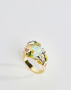 Кольцо с искусственным хризолитовым опалом Bill Skinner - Золотой