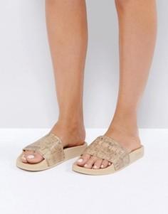 Песочные сандалии на пробковой подошве Slydes Woodbine - Бежевый