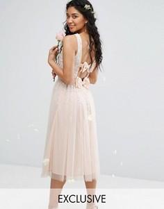 Платье миди с отделкой и двумя бантами Maya Bow - Розовый