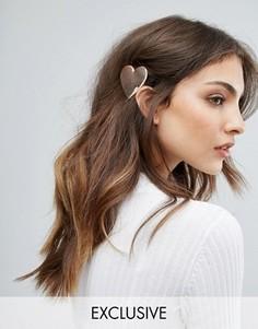 Металлическая заколка для волос с отделкой в форме сердца Orelia - Серебряный