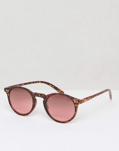 Солнцезащитные очки в круглой черепаховой оправе Jack Wills Brightwell - Коричневый