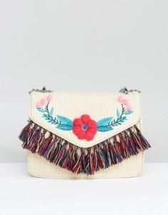Соломенная сумка через плечо с помпонами и кисточками Skinnydip - Бежевый
