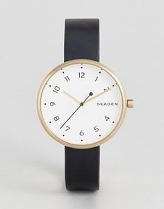 Фирменные часы с черным кожаным ремешком Skagen - Черный
