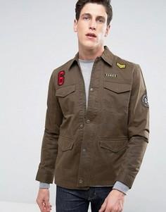 Куртка с четырьмя карманами и нашивками Threadbare - Зеленый
