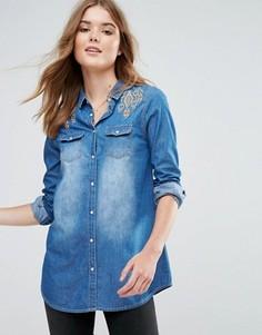 Джинсовая рубашка с вышивкой на плечах Brave Soul Wendy - Синий