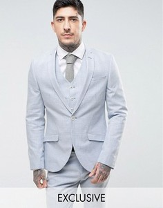 Облегающий свадебный пиджак из льняной ткани в клетку Heart & Dagger - Синий