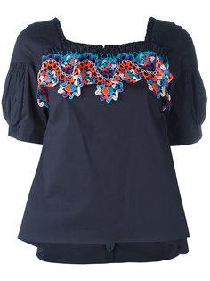 блузка с оборками и кружевной вставкой Peter Pilotto