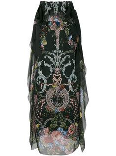 цветочное платье с завязками на плечах Fendi