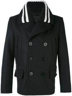 укороченное пальто с трикотажным воротником Givenchy