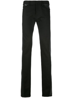 удлиненные джинсы с кожаными вставками Diesel Black Gold
