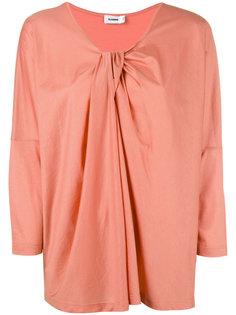 блузка с драпировкой и V-образной горловиной Jil Sander
