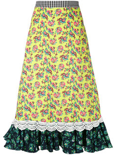 юбка длины миди с оборками на подоле House Of Holland