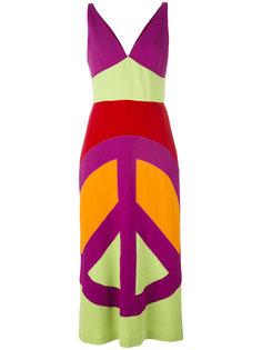 платье-макси с принтом знака peace  Moschino Vintage