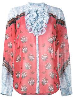 блузка с рюшами и цветочным принтом Ronda Mary Katrantzou