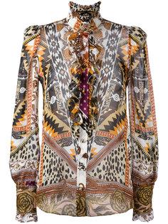 прозрачная рубашка с узором Roberto Cavalli