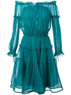платье миди с открытыми плечами  Alberta Ferretti
